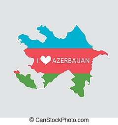 I love Azerbaijan- 2D Map of Azerbaijan in flag colors