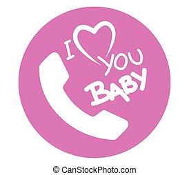 I Love Baby Phone Icon Design