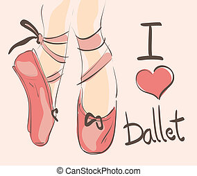 I love Ballet illustration with hand draw,n pink, pointed shoes