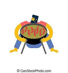 I love barbecue. Man hugging BBQ grill.