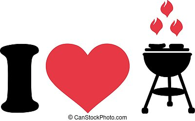 I love barbecue with grill icon