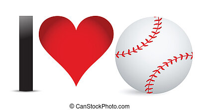 I love Baseball, Heart with Baseball Ball Inside