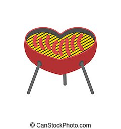 I love BBQ. Heart Barbecue grill isolated. Fried sausage