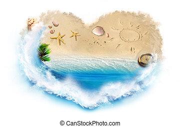 I love beach - Beach, sea, shells, compass framed in a...