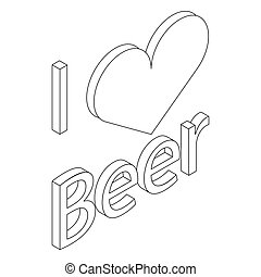 I love beer icon in isometric 3d style