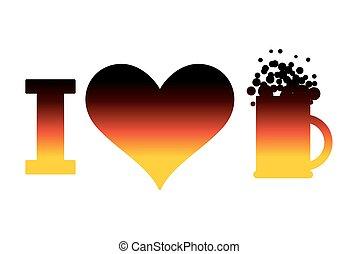 I love beer logo for Oktoberfest. German flag. Sign for...