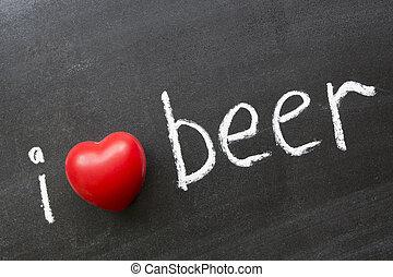 love beer - I love beer phrase handwritten on blackboard
