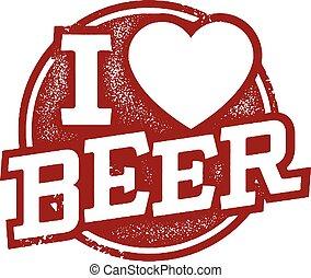 I love Beer Rubber Stamp