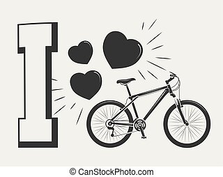 I love bicycle print design - print with bicycle and hearts
