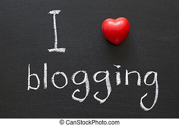 love blogging - I love blogging handwritten on school...