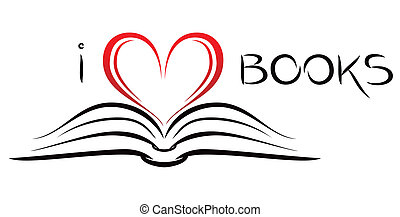 I love books - Open book with pages curved in heart shape
