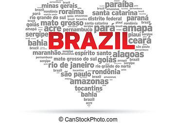 I Love Brazil Illustration on white background.