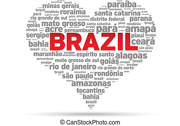 I Love Brazil Illustration on white background.