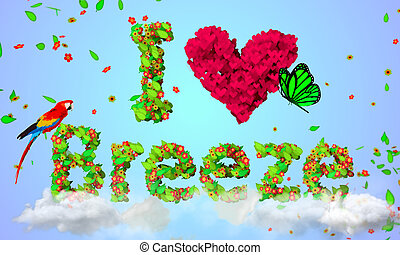I Love Breeze leaves particles 3D