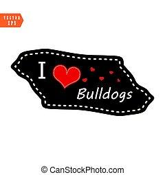 I love bulldogs heart valentine vector wallpaper on black background. eps10