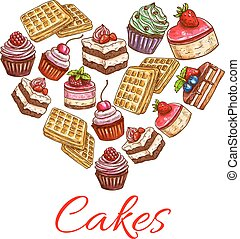 I love cakes. Pastry desserts in heart shape label