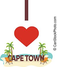 I love Cape Town. Travel. Palm, summer, lounge chair. Vector flat illustration.