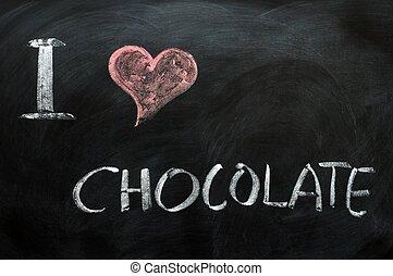 I love chocolate - text written on a blackboard