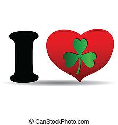 I love clover icon on white background