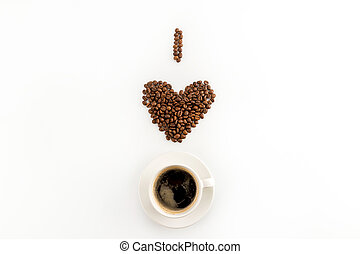 I love coffee concept with cup of coffee isolated on white background