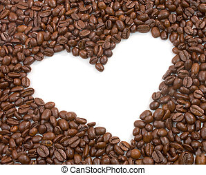 Heart shape surrounded by roasted coffee beans
