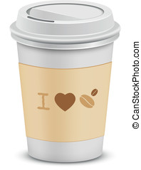 I love coffee. Plastic coffee cups with lid. Vector...