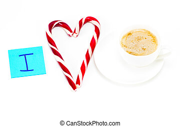 I love coffee, sticky note with a cup of coffee on white background