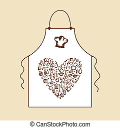 I love cooking! Apron with kitchen utensils sketch for your design