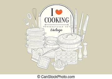 I love cooking, creative vintage poster with kitchen appliances handsketched vector illustration