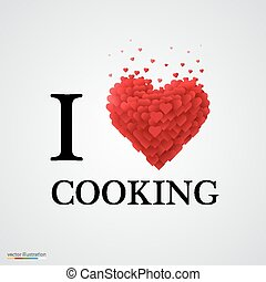 i love cooking heart sign.