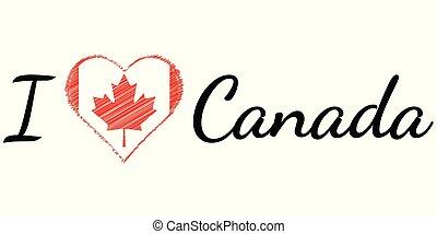 I love country Canada, text heart Doodle, vector calligraphic text, I love Canada flag heart patriot