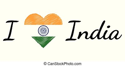 I love country India, text heart Doodle, vector calligraphic text, I love India flag heart patriot