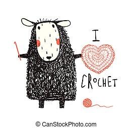 I love crocheting sheep hand drawn design