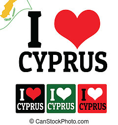 I love Cyprus sign and labels