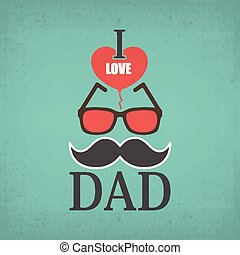 I Love Dad and red heart shape background for Happy Father's Day celebrations. Poster, banner or flyer design with stylish text