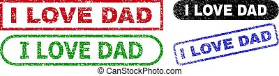 I LOVE DAD Rectangle Stamps with Scratched Texture