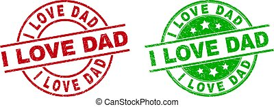 I LOVE DAD Round Stamps Using Corroded Surface