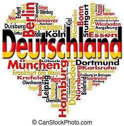 I Love Deutschland - Written Deutschland and german cities...