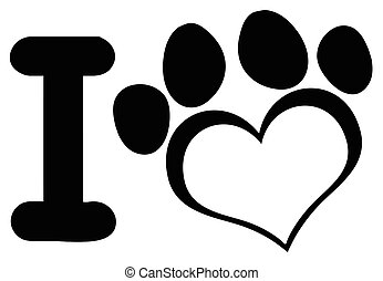 I Love Dog With Black Heart Paw Print Logo Design