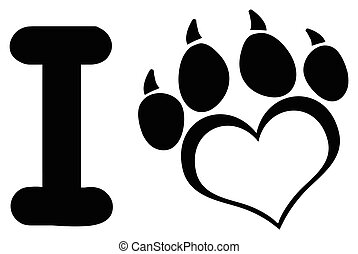 I Love Dog With Black Heart Paw Print With Claws Logo Design