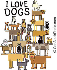 Design of a group of talented, cute dogs performing a balancing act. Typestyle is my own design.