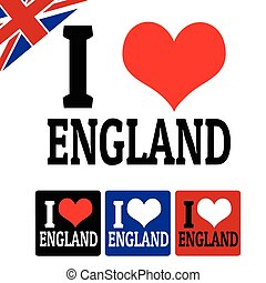 I love England sign and labels