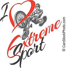I love extreme sport.  BMX rider - vector illustration.
