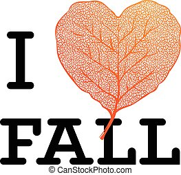 I love Fall - autumn sale poster with leaf heart shape and simple text on white background