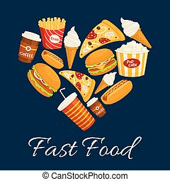 I love fast food flat icons in heart shape