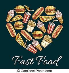 I love fast food heart shape emblem