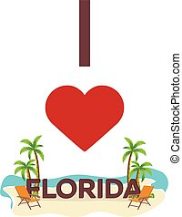 I love Florida. USA. Travel. Palm, summer, lounge chair. Vector flat illustration.