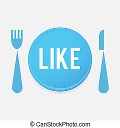 I Love FOOD - plate Button With Fork And Knife