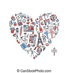 I love France, icons collection. Sketch for your design