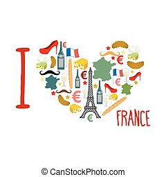 I love France. Traditional French national set of icons in form of heart. Eiffel Tower and croissant. French flag and map. Wine and cheese. Fashion and baguette. Dorblu mold label and euro symbol. State travel logo